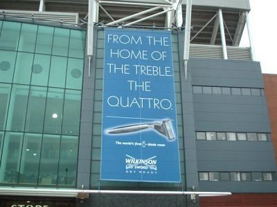 Large format mesh banner on stadium