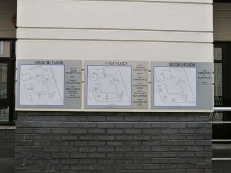 Site signs showing maps and directions