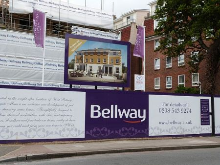 Large hoarding, flags and scaffolding banner