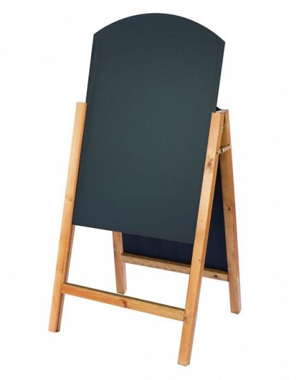 Reversible curved top chalk board